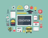 Education items flat icons set — Stock Vector