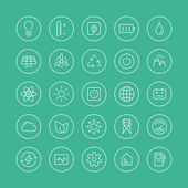 Power and energy flat line icons — Vector de stock