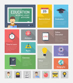 Education flat web elements with icons — Stock Vector