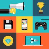 Playing games flat icons set — Vetor de Stock