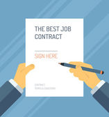 Signing a contract form flat illustration — Stock Vector