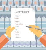 Shopping list in supermarket flat illustration — Stock Vector