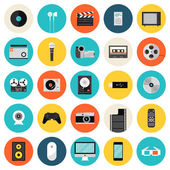Multimedia and technology flat icons — Stock Vector