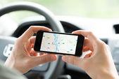 Google Maps navigation on Apple iPhone — Stock Photo