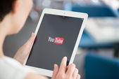 YouTube application on Apple iPad Air — Stock Photo