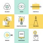 Creative process design flat line icons — Stock Vector #47783447