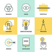 Creative process design flat line icons — Stock Vector