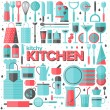 Kitchen and cooking utensils flat illustration — Stock Vector