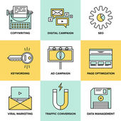 Digital marketing and seo optimization flat icons — Stock Vector