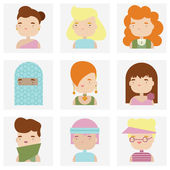 Cute female character faces flat icons — Stock Vector