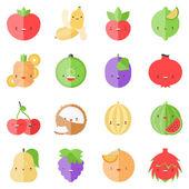 Cute stylish fruits flat icons — Stock Vector