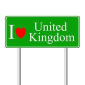 I love United Kingdom, concept road sign — Stock Vector