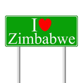 I love Zimbabwe, concept road sign — Stock Vector