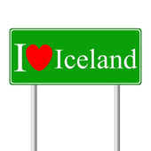 I love Iceland, concept road sign — Stock Vector