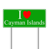 I love Cayman Islands, concept road sign — Stock Vector