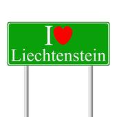 I love Liechtenstein, concept road sign — Stock Vector