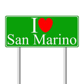I love San Marino, concept road sign — Stock Vector