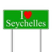 I love Seychelles, concept road sign — Stock Vector