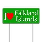 I love Falkland Islands, concept road sign — Stock Vector