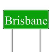 Brisbane green road sign — Stock Vector