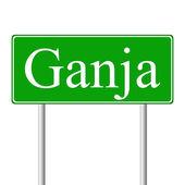 Ganja green road sign — Stock Vector