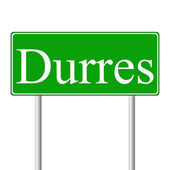 Durres green road sign — Stock Vector
