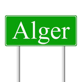 Alger green road sign — Stock Vector
