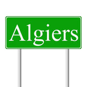 Algiers green road sign — Stock Vector