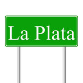 La Plata green road sign — Stock Vector