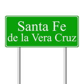 Santa Fe de la Vera Cruz green road sign — Stock Vector
