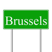 Brussels green road sign — Stock Vector