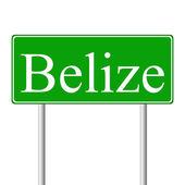 Belize green road sign — Stock Vector