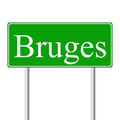 布鲁日绿色道路标志 — 图库矢量图片