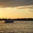 Stock Photo: Neva river at sunset, St.Petersburg