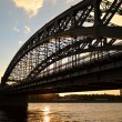 Neva river and Bridge Peter the Great at sunset — Stock Photo
