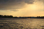 Neva river at sunset, St.Petersburg — Stock Photo