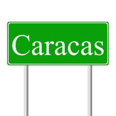 Caracas green road sign — Stock Vector