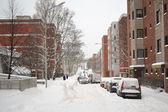 Street in Kotka at winter — Stock Photo