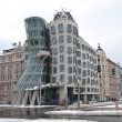 Prague Dancing House at winter - Stock Photo