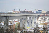 View of big modern bridge in Prague — Stock Photo