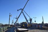 Reparaturarbeiten an der Schlossbrücke in st.petersburg — Stockfoto
