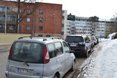 Cars on street in Kotka, Finland — Stock Photo