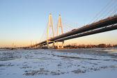 Obukhovsky bron över floden neva — Stockfoto