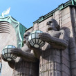 Statues adorn main railway station, Helsinki — Stock Photo #24778649