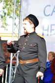 Portrait of a Cossack singing. — Stock Photo