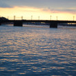 Neva river at sunset — Stock Photo