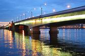 Alexander Nevsky Bridge at night — Stock Photo