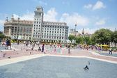 Catalonië plein in barcelona, spanje. — Stockfoto