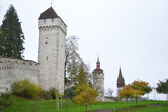 Luzern City Wall with medieval towers — Stock Photo