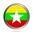 Myanmar flag button. — Stock Vector